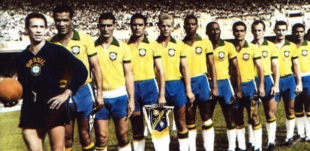 O time do Palmeiras com a camisa da Seleção Brasileira em 1965.